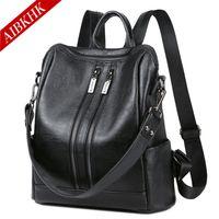 Venta al por mayor Mochila Cowhide patrones de diseño Negro Mochila de cuero de alta calidad Mochilas Mujer Zipper para viajar Impermeable