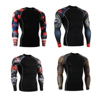 Wholesale Men s sports long sleeves spring fast drying clothes South Korea pro compression training clothes running fitness riding tights LHD016