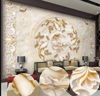 achat en gros de motifs de tissus sur mesure-New Custom 3D Belle Lotus modèle marbre de soulagement de télévision mur de mur fond mural 3d papier peint 3d papiers peints pour la toile de fond tv