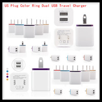 Wholesale Factory Sales US Plug Dual USB V A Travel Wall Chargers AC Power Adapters For Samsung S6 S5 Note5 Blackberry iPhone5 s
