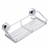 Wholesale Stainless steel shelving Suction Shower Basket Dual Sucker Bathroom Shelf Washing Room Kitchen Corner Basket Wall Mounted Rack