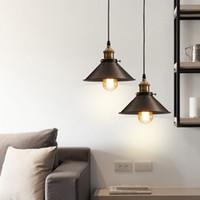 Lámpara estándar Loft American Vintage pendiente luces de cobre titular de la lámpara E27 110 / 220V antigua lámpara colgante para la decoración del hogar Iluminación Restaurante