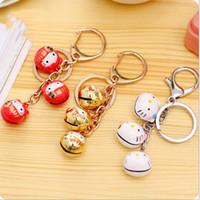 Wholesale New fashion creative super Meng hello kitty key chain bell keys bag pendant cute cartoon kt Lucky cat key chain jewelry
