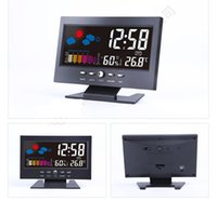 antique station clocks - FREE SHIPMENT Table Desktop Clocks Acoustic Control Sensing night light LED Colorful Digital LCD Alarm Clock Thermometer C F Weather Station