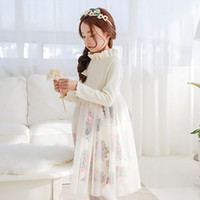 Wholesale The child of children s wear skirts in winter long sleeved cotton gauze dress girl Princess Dress polished cute dress