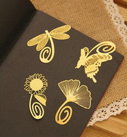 Wholesale Fashion K bookmark golden peacock sunflower rose dragonfly olive type hollow out metal bookmark