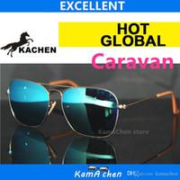 al por mayor gafas de sol lente roja-KaChen Rojo Azul Lente UV400 protección 58 15 marco de metal gafas de sol gafas mujeres mujeres Tamaño normal