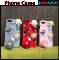 bear skin hat - Cartoon Bear Dog Cute Winter Little Hat Phone Cases For iphone s plus plus Colorful Back Cover with Pendant Protective Shell Skin