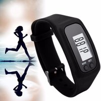 Passometer On Wrist Adult Wholesale-Digital Pedometer Calorie Counter Run Step Walk Distance Bracelet Watch Black