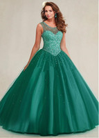 beaded bead patterns - 2017 Sweet Teal Quinceanera Dresses Ball Gowns Sheer Jewel Neck with Beadings Ruffles Tulle Puffy Girls Prom Party Gowns Custom