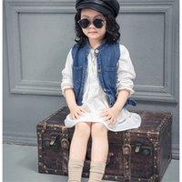 Wholesale Fashion Design Jean Waistcoat and White Long Shirt Short Dress for Children set