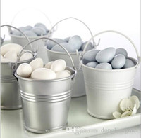 Wholesale sliver color Galvanized mini pails mini bucket candy chocolate boxes favors for wedding party cm z204