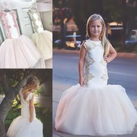 Wholesale 2017 Modest White Mermaid Flower Girl Dresses For Wedding With Pink Lace Jewel Neck Little Kids Christmas Formal Pageant Party Gowns