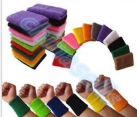 Wholesale hot Sports Sweatband Cotton cm Terry Cloth Wrist Sweat Bands Tennis Fitness Basketball Wristband Wrist Support Protector