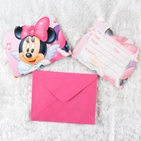 Wholesale Kid Boy Girl Minnie Mouse Happy Birthday Party Decoration Kids Supplies Favors Invitation Cards