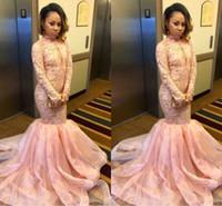 al por mayor sirena, más del prom del tamaño del vestido-Pale Pink Mermaid Prom Dresses 2017 Cuello alto de manga larga Organza de encaje por encargo Negro Girls Party Dresses más tamaño de vestidos de noche