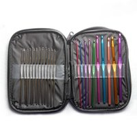 Wholesale 22Pcs Set Multi colour Aluminum Crochet Hooks Needles Knit Weave Craft Yarn Sewing Tools Crochet Hooks Knitting Needles DHL Shipping Free