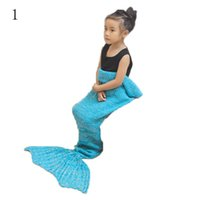 Wholesale 90x50cm Warm Knitted Mermaid Tail Blanket For Kids Cozy And Adorable Mermaid Blanket Travel Rest Acrylic Knitting Colors