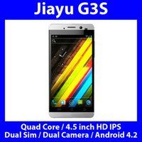 Recensioni Jiayu g3-Commercio all'ingrosso -Jiayu G3 Smartphone Quad Core da 1,2 GHz Dual Sim Camera 4,5 pollici HD IPS Gorilla Glass GPS 3G Android Bluetooth 4.2.1