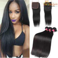 Wholesale Brazilian Straight Hair With Closure x4 Lace Closure With Bundles Brazillian Straight Virgin Human Hair Extensions