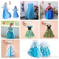al por mayor niñas vestidos de encaje de diseños-Las muchachas se congelaron los vestidos 7 del vestido del cordón del paillette del copo de nieve diseñan el vestido libre Sweetgirl B de Elsa Anna TuTu del partido de la princesa de los niños de DHL