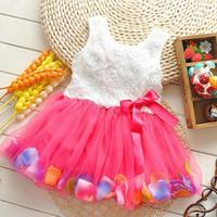 Wholesale New Girls Pink Rose Petal Hem Dress Girls Floral Clothes pink Colors Cute Kids Clothes Princess Dress