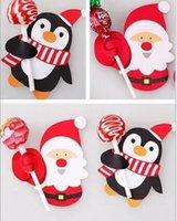venda por atacado christmas decorative ornaments-Christmas Party Decorative Papai Noel Penguins Lollipop Artesanato Ornamento Xmas Decor Paper Card Red Gift Tags Decoração Hot Sale Festive Home