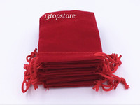 Wholesale 200Pcs mm Red Velvet Drawstring Jewellery Gift Bags Pouches HOT