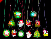 Wholesale DHL free Christmas Tree Orname LED Necklace glow shine Santa Claus necklace flashing necklaces Luminous Christmas toys gift LED Lighted Toys