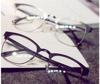 Wholesale 2016 The new Korean version of the retro metal square plain mirror metal glasses frames men and women fashion trend frames
