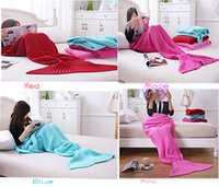 Wholesale Crochet Mermaid Blanket adult180 cm and child130 cm Sleeping bags Tail Blankets Sofa Blankets Mermaid Tail Sleeping Bags