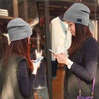 Wholesale High Quality Christmas Gift Colorful Bluetooth Music Soft Warm Hat With Stereo Headset Speaker Wireless Hands free Cap