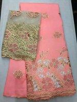 al por mayor tapa neta del vestido-La tela superior del cordón de George del melocotón de los 5yards de la venta con los cequis y los muertos empareja 2yards iguala el cordón francés de la red de la blusa para el vestido OG52-1