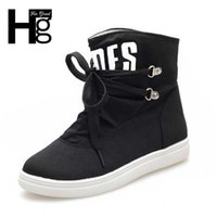 alphabet shoes - HEE GRAND New Women Canvas Fashion Boots Lace up Alphabet Women Shoes Round Toe Flat Solid Shoes XWX2593