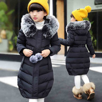 Wholesale 2016 Winter warm Children Down jacket for Jackets Girls clothes Child Long Heavy hair collar thickening Collect waist Coat parka