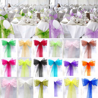 Wholesale Wedding Favor Sheer Organza Chair Covers Sashes Band cm x cm Ribbons Bow Party Banquet Event Tie Full Colors