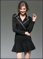 Cheap 2017High quality Tweed stitching suit collar long sleeve fishtail OL short paragraph dress women business dresses formal fashion work dres