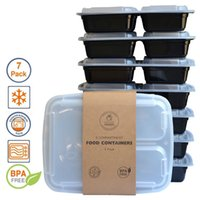 bento box containers - Meal Prep Containers Microwave Food Storage Portion Control Disposable Containers Lids Bento Box Lunch Box Tray with Cover LJJH1463
