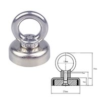 Wholesale 1Pc Strong N52 Neodymium Magnet w Circular Eyebolt Rings for Salvage Tools x30mm