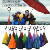 Wholesale Fashion Creative Inverted Umbrellas Double Layer With C Handle Inside Out Reverse Windproof Rainy Umbrella With J Handle