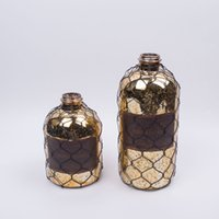 Wholesale DH traditional Sepia vase old style glass bottle Flower Vase home Decorative metal mesh old vase art crafts house ornament