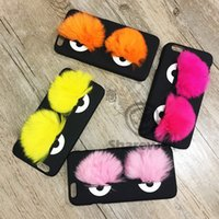 apple devil - Newest Little Devil D Capsule Fur Eyes Monsters Case for iphone s s plus splus A036