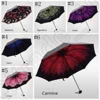 Wholesale Windproof Anti UV Umbrella Trendy Women Sun Rain Korean Style Flower Princess Folding Umbrella styles Vinyl umbrella OOA918