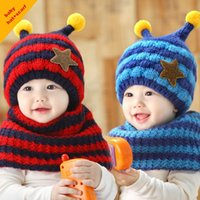bee protection hat - Hot Selling Children Winter knitting Hats Thick Warm Ear Protection Kids Boy Girls Cartoon Bee Caps Baby Toddler hats Scarf M