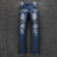 Wholesale Men Destroyed Biker Jeans Denim Blue Ripped Distressed Skinny Fit Jeans brand new size