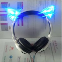 apple gaming computers - Foldable Flashing Glowing Cute Cat Ear Headphones Gaming Headset Earphone with LED light For PC Laptop Computer Mobile Phone