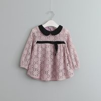 baby doll clothing styles - Baby Girls lace dress shirt spring new children lace crocket T shirt kids doll collar long sleeve princess tops girls clothing T1060