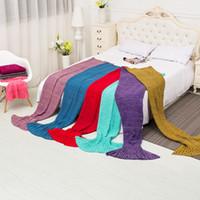 Wholesale 2016 Mermaid Tail Blanket Super Soft kid blanket cartoon Sofa Blanket air condition blanket siesta blanket multicolor sizes available