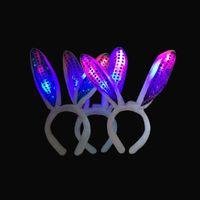 Wholesale LED Light Up Hairband Sequin Bunny Rabbit Ears Headband Party Holiday Birthday Gift Kids Cihildren Women