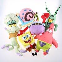 Wholesale Character Patrick - Wholesale-6pcs set Plush SpongeBob Toys Patrick Krabs leather boss octopus snail Soft Doll Classic Plush Toys For Children Gift